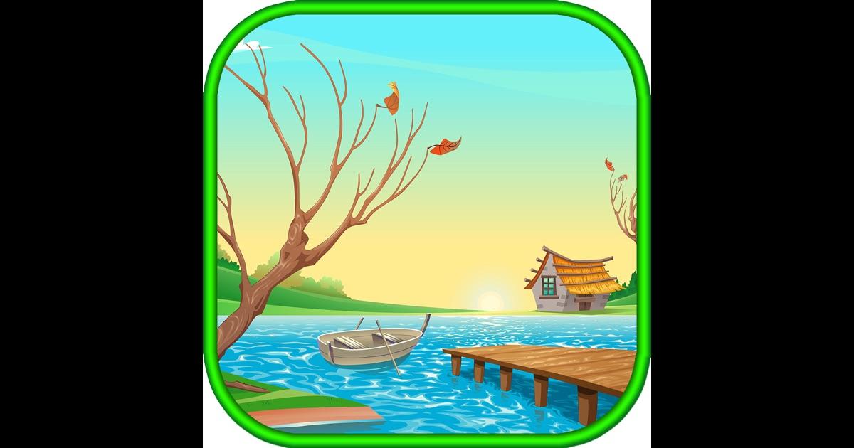 рисунки с лодкой на озере