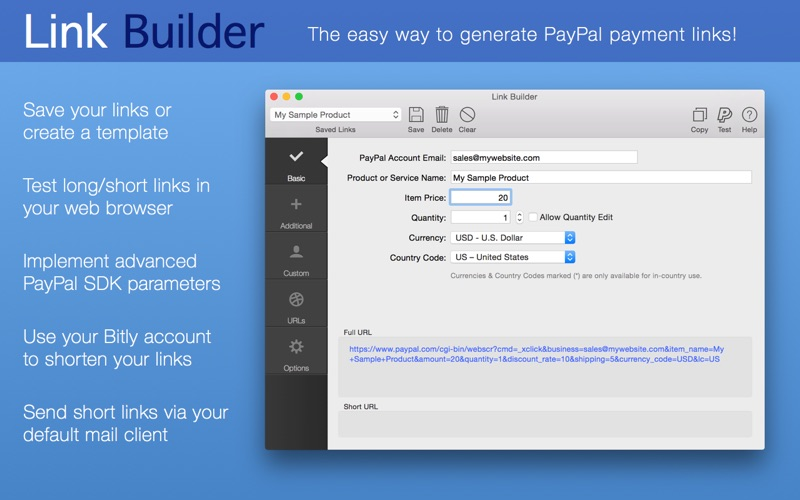 Link Builder for PayPal Screenshots