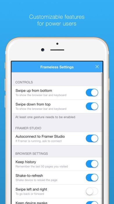 Frameless - a full-screen web browser Screenshot