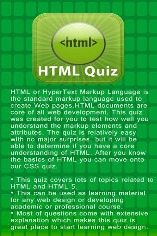 HTML Hyper Text Markup Language Quiz screenshot 1