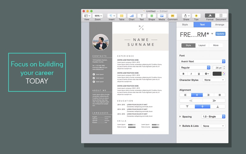 Resume & Cv Templates For Pages On The Mac App Store
