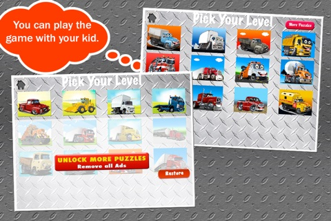Trucks Jigsaw Puzzles: Kids Trucks Cartoon Puzzles screenshot 2