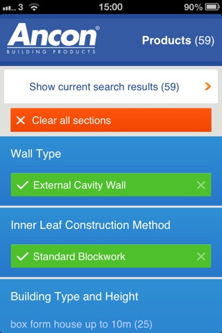 Ancon UK Wall Tie Product Selector screenshot 3