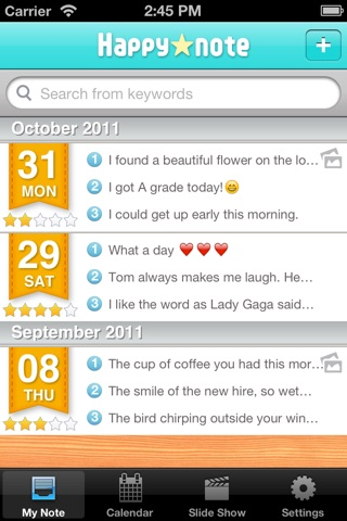 Think happy thoughts! Happynote screenshot 2