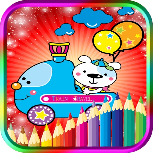 Kids Coloring Book Train Transportation iOS App