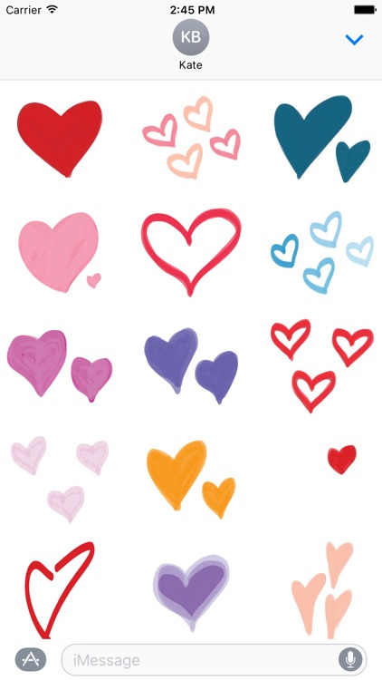 Cute Hearts Text Selol Ink