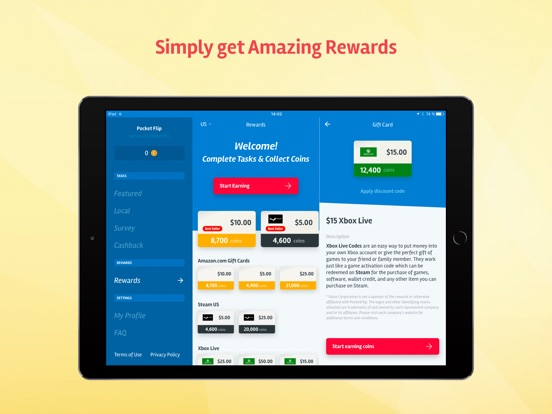 Screenshots of PocketFlip - Gift Cards & Cash For Apps Rewards for iPad