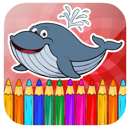 Paint Whale Swimming Coloring Page Game iOS App