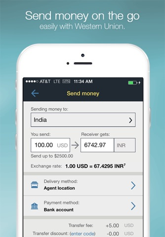 Money Transfer WesternUnion US screenshot 1