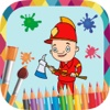 Fire and police paint - coloring book professions coloring